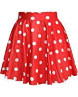 SAYM Women Girls Stretchy Polka Dot Flared Casual Mini Skirt