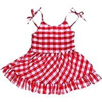 perfeclan Bebek Kız Dantel Kolsuz Elbise Küçük Çocuk Yaz Check Kıyafet Yaz Elbisesi