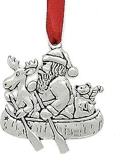 Basic Spirit Pewter Santa Canoe Moose Christmas Tree Ornament Decoration