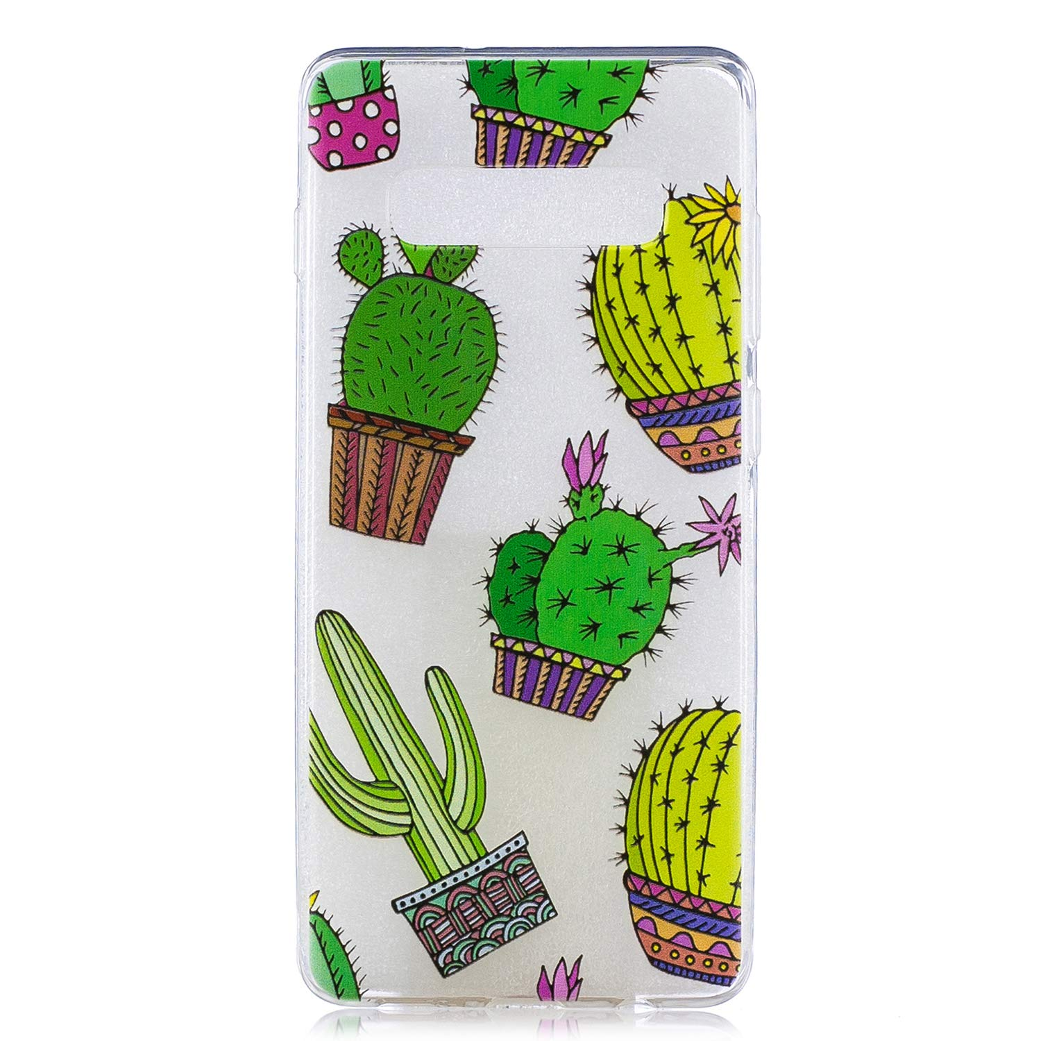 Galaxy S10e Case, for S10e 5.8'', MerKuyom Lightweight [Clear Crystal Transparent] Slim-Fit Flexible Gel Soft TPU Case Cover for Samsung Galaxy S10e 5.8-inch, W/Stylus (Green Cactus Pattern) by MerKuyom (Image #1)
