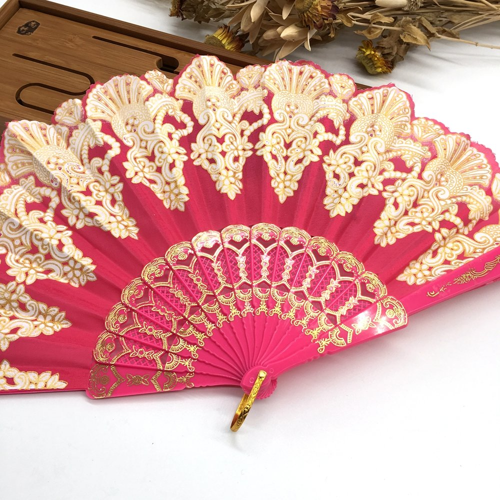 Rose Spanish Hand Fan Floral Fabric Embroidered Peacock Tail Dance Fans Party Supplies For Gift