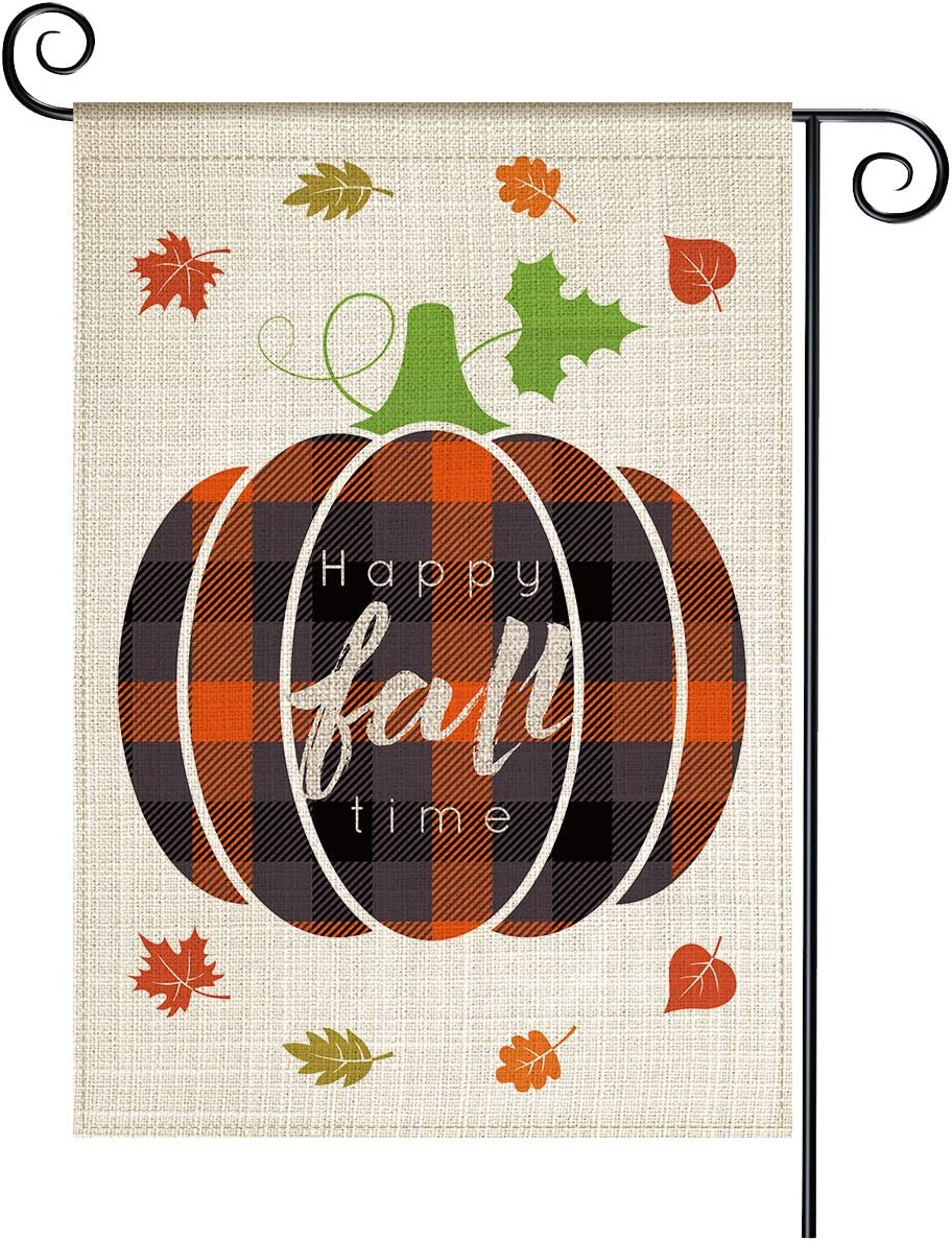 LAVEVE Fall Garden Flag, Happy Time Welcome Vertical Double Sided Yard Flag, Weather-Resistant Burlap 12.5 x 18 Inch, Seasonal Holiday Outdoor Decor for House Garden Lawn(Happy Fall Time)