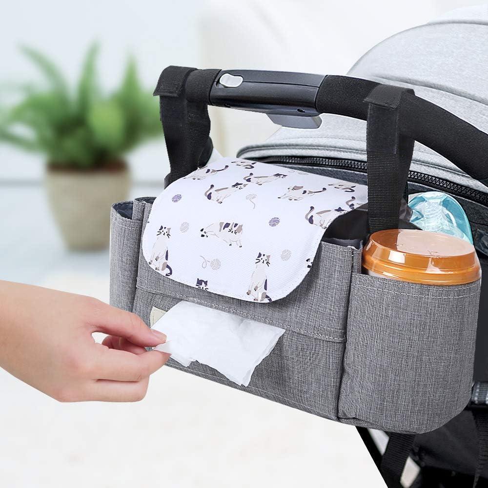 Bolsa Organizador Almacenamiento de Cochecito de Bebé Multifuncional,Bolsa para Pañales,Soporte para Carro de Bebé con Velcro,Gran Espacio de Almacenamiento,Impermeable (Gatito Gris)