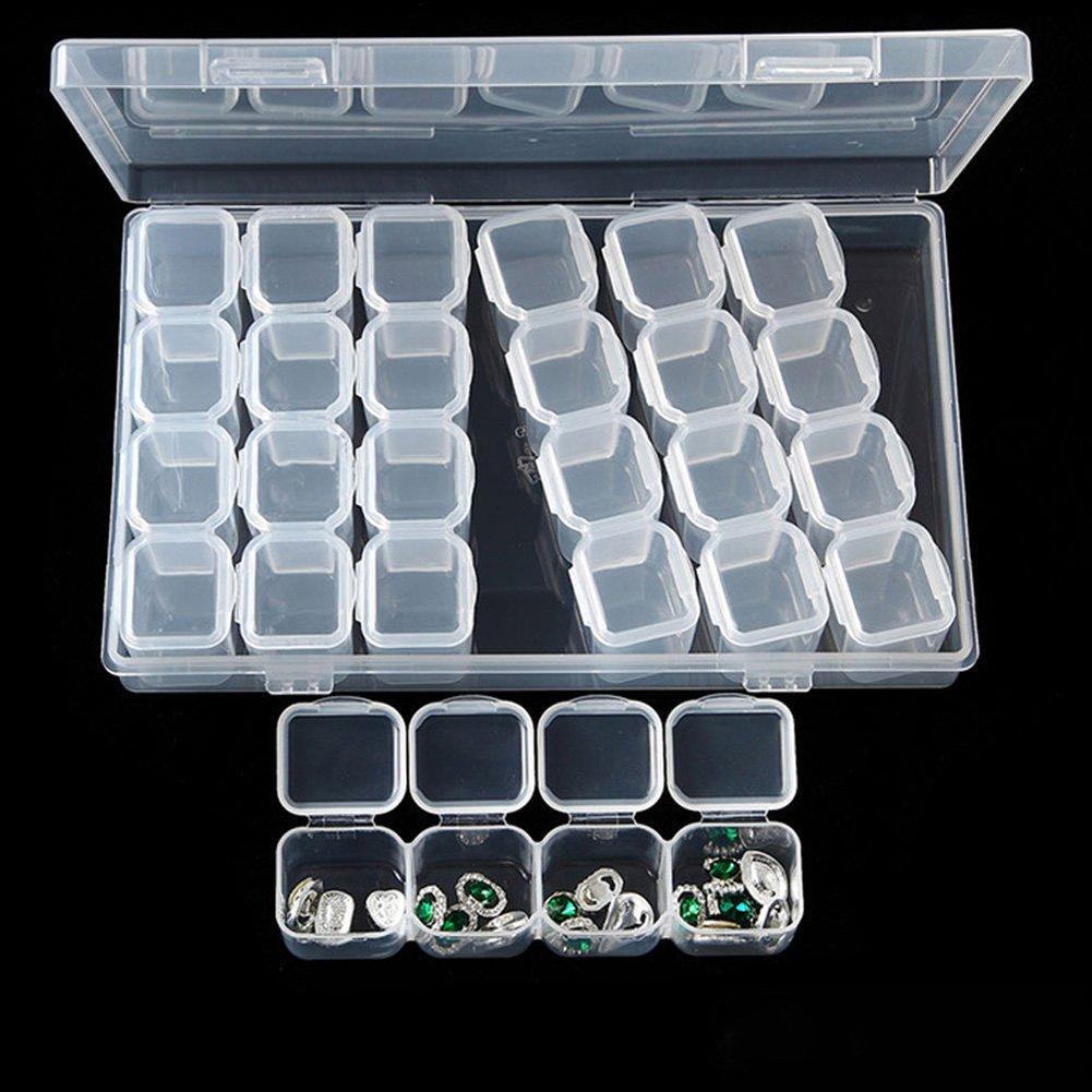 Gemini/_mall Contenitore organizer regolabile a 28/griglie per accessori per il Diamond Painting per fai da te Clear