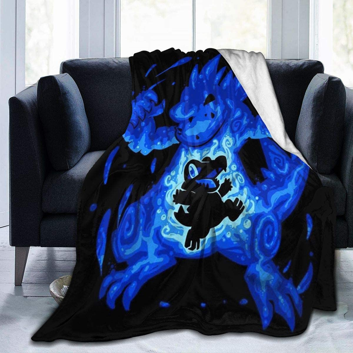 Poke-mon Ferocious Water Within Totodile Feraligatr Fleece Blanket Ultra-Soft Lightweight All Seasons Fit Bed Couch Chair Office Flight and Outdoors