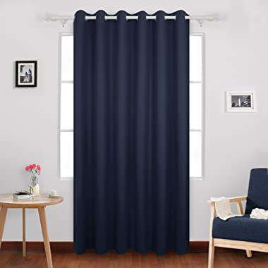 Deconovo Heavy Duty Blackout Curtains Grommet Curtains Thermal Insulated Wide Curtains Room Darkening Curtains Window Curtains for Dining Curtains 80W x 84L Inch Navy Blue 1 Drape