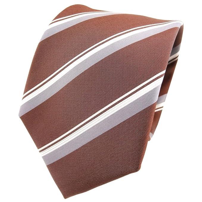 TigerTie diseñador corbata de seda - marrón marrón cobre gris ...