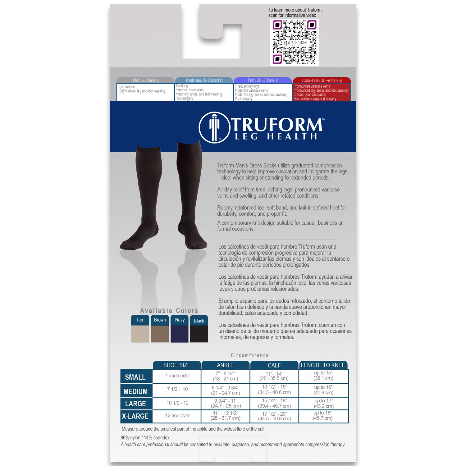 Amazon.com: Truform Compression 30-40 Mmhg Knee High Dress Style Socks Navy, Small, 2 Count: Health & Personal Care