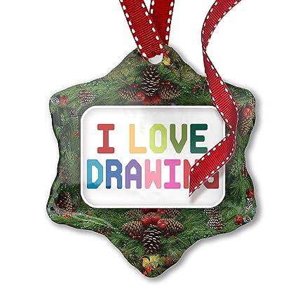 Colorful Christmas Ornaments Drawings.Amazon Com Neonblond Christmas Ornament I Love Drawing