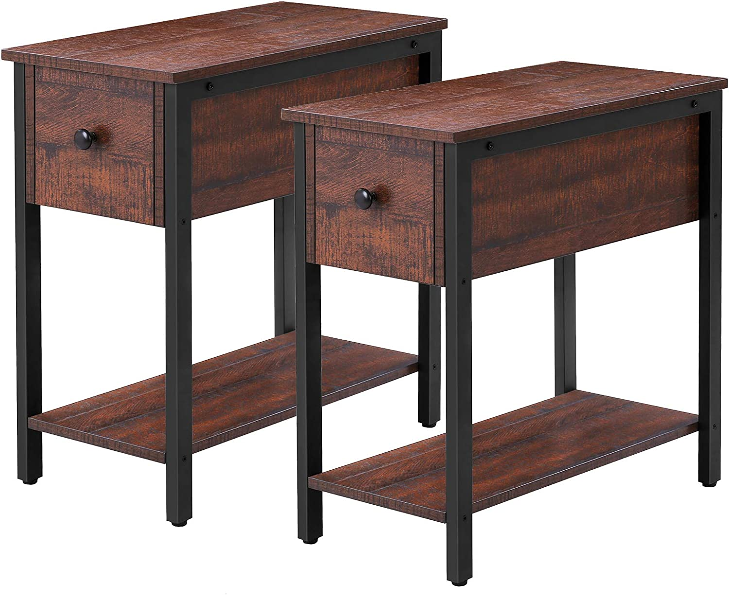 HOOBRO Side Table Set of 2, Thin Nihjtstand with Drawer, Narrow End Table for Small Spaces, Stable and Sturdy Construction, Wood Look Accent Furniture with Metal Frame, Walnut Color BY04BZP201