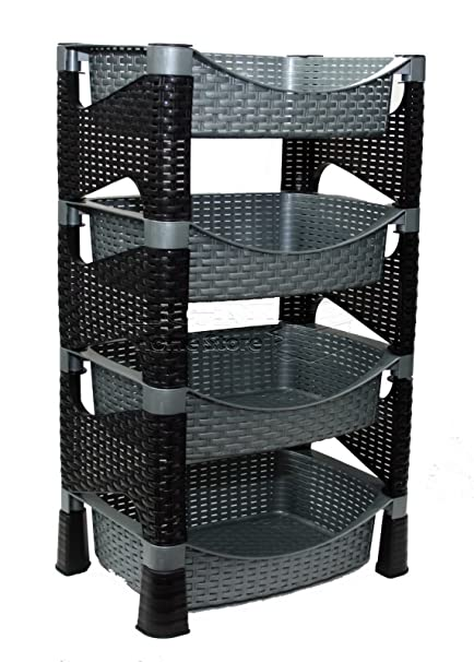 Carrito con torre de cestas de ratán plástico, 4 niveles,