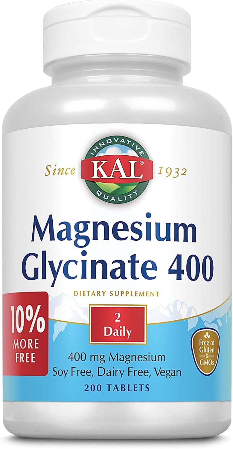 KAL® Magnesium Glycinate 400 mg | Vegan, Chelated, Non-GMO, Soy, Dairy, and Gluten Free | Extra Value Size | 100 Servings | 200 Tablets