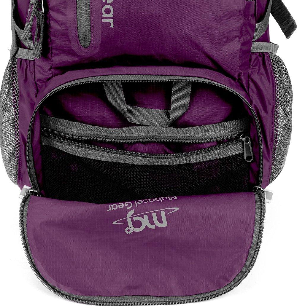 Mubasel Gear Backpack - Lightweight Backpacks for Travel Hiking - Daypack for Women Men (Purple) by Mubasel Gear (Image #4)