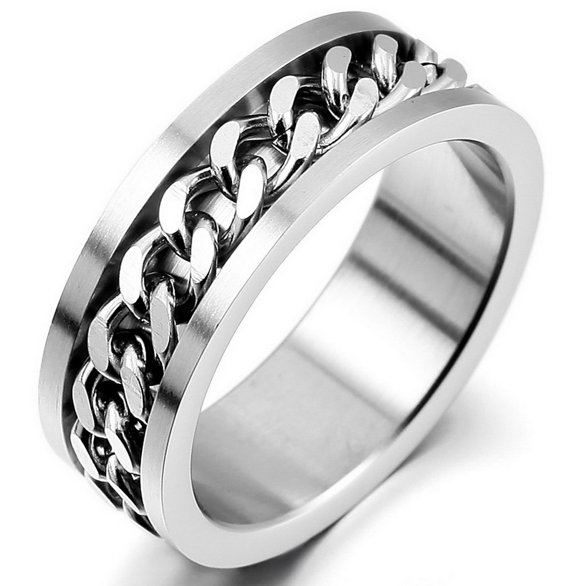 INBLUE Men's Stainless Steel Ring Band Silver Tone Chain Wedding INBLUE Jewelry mne408-2-parent