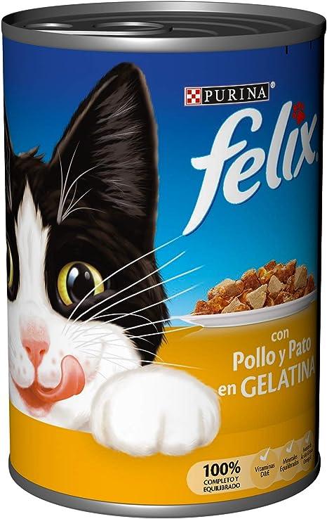 PURINA Felix Comida para Gatos Pollo y Pato en Gelatina Lata ...