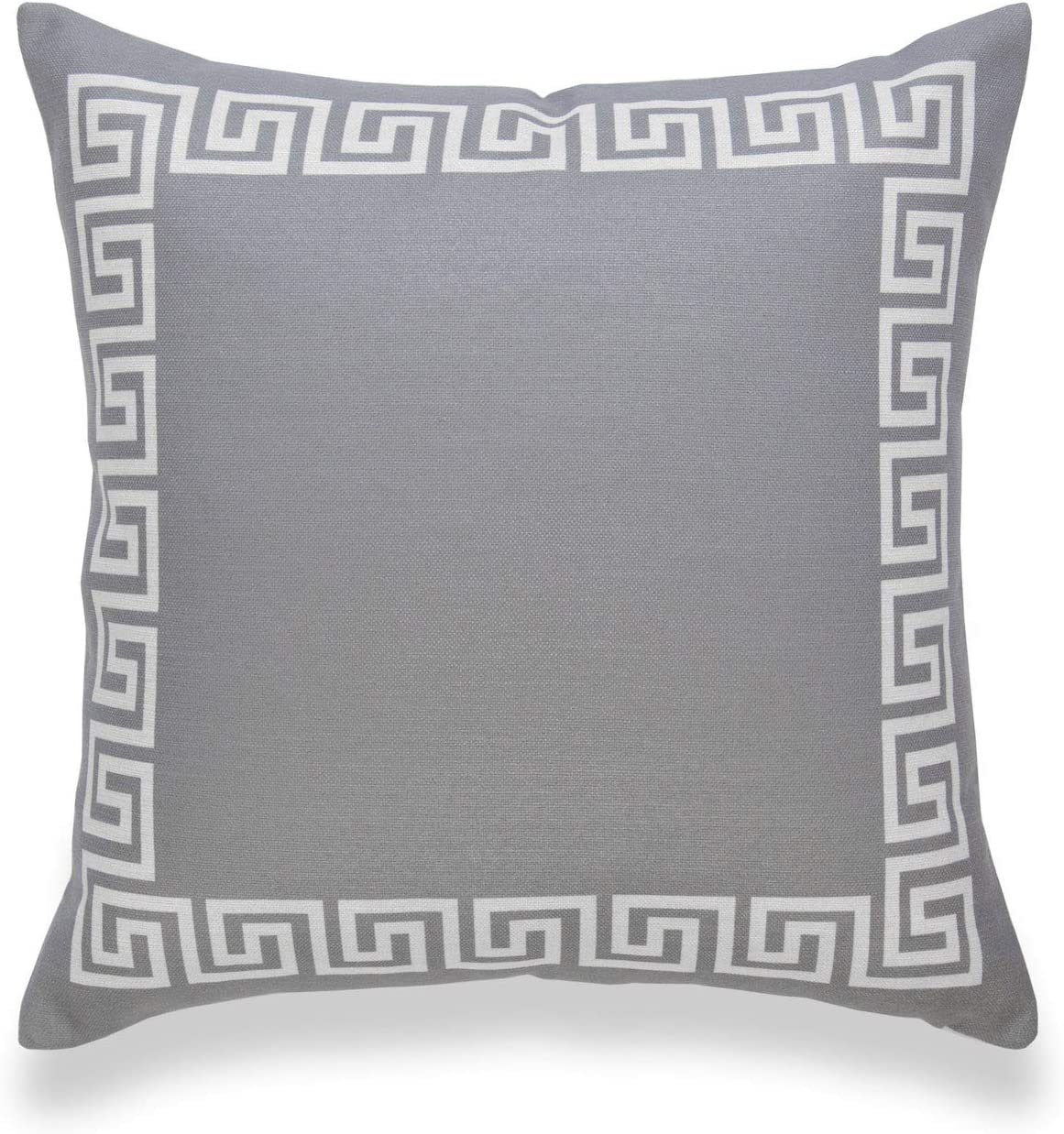 Hofdeco Neutral Decorative Throw Pillow Cover ONLY, for Couch, Sofa, or Bed, Dark Gray Greek Key, 18