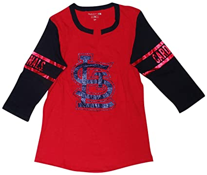 642dc7b19 Amazon.com   St. Louis Cardinals Women s 3 4 Sleeve V-Notch Slub ...