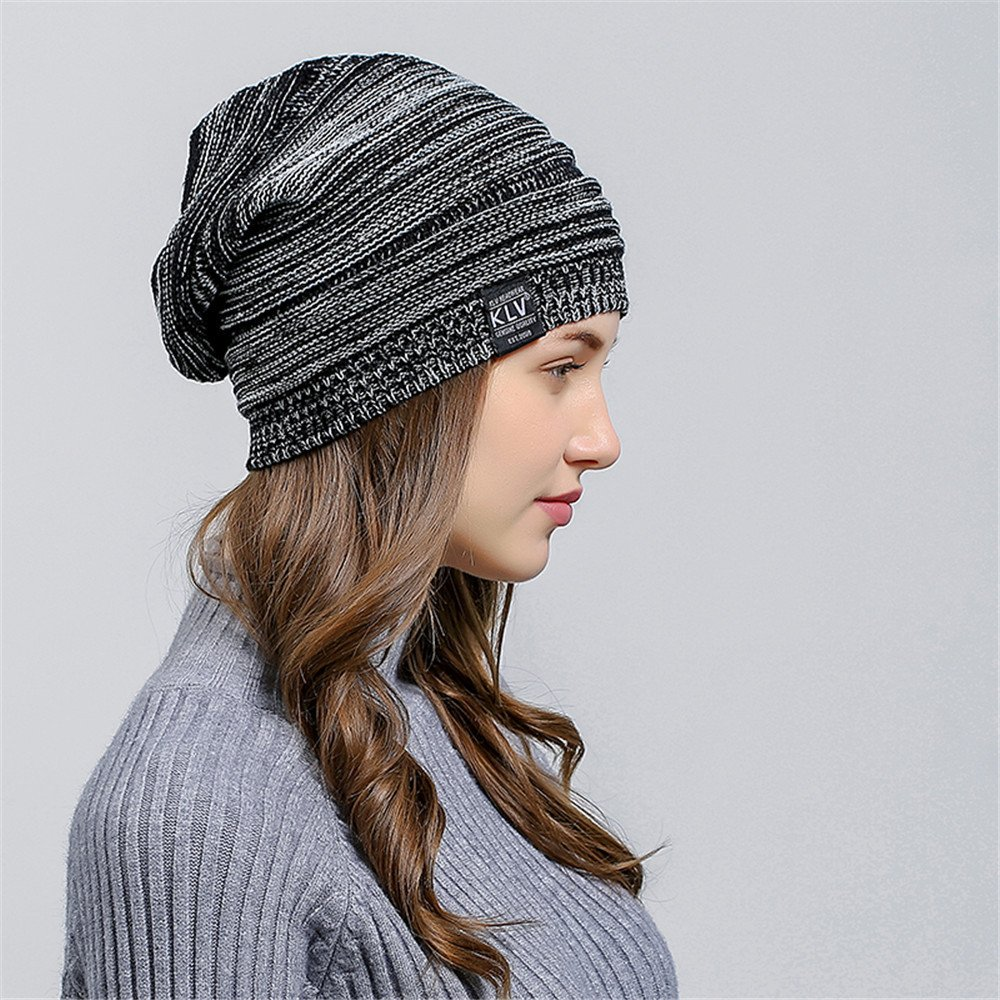 HULKAY Unisex Caps Premium Soft Stretch Pleated Warm Hooded Wool Knitted Hat(Black) by HULKAY (Image #4)