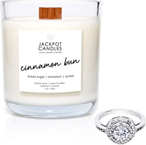 Jackpot Candles Cinnamon Bun Candle with Ring Inside (Surprise Jewelry Valued at $15 to $5,000) Ring Size 7