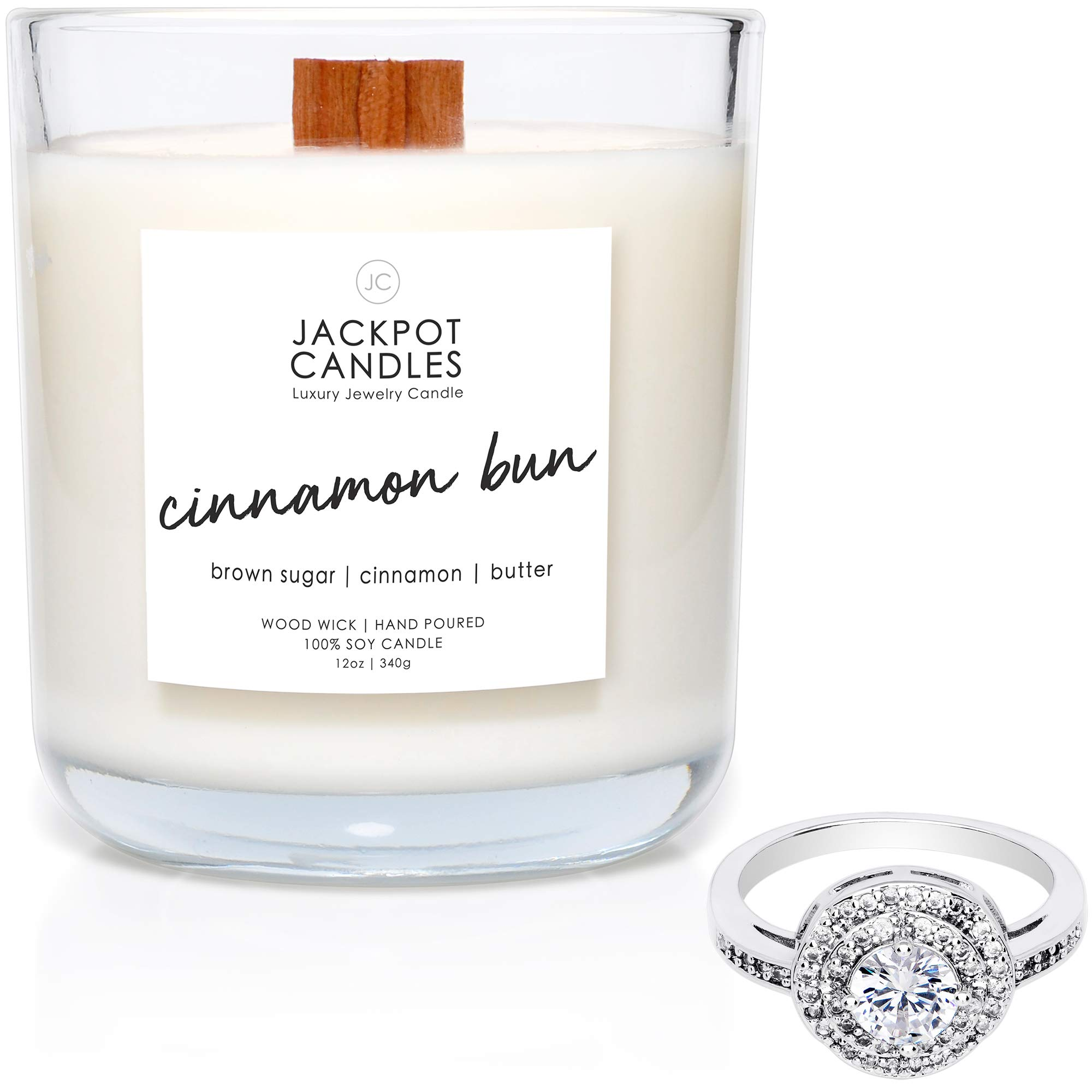 Jackpot Candles Cinnamon Bun Candle with Ring Inside (Surprise Jewelry Valued at $15 to $5,000) Surprise Ring Size