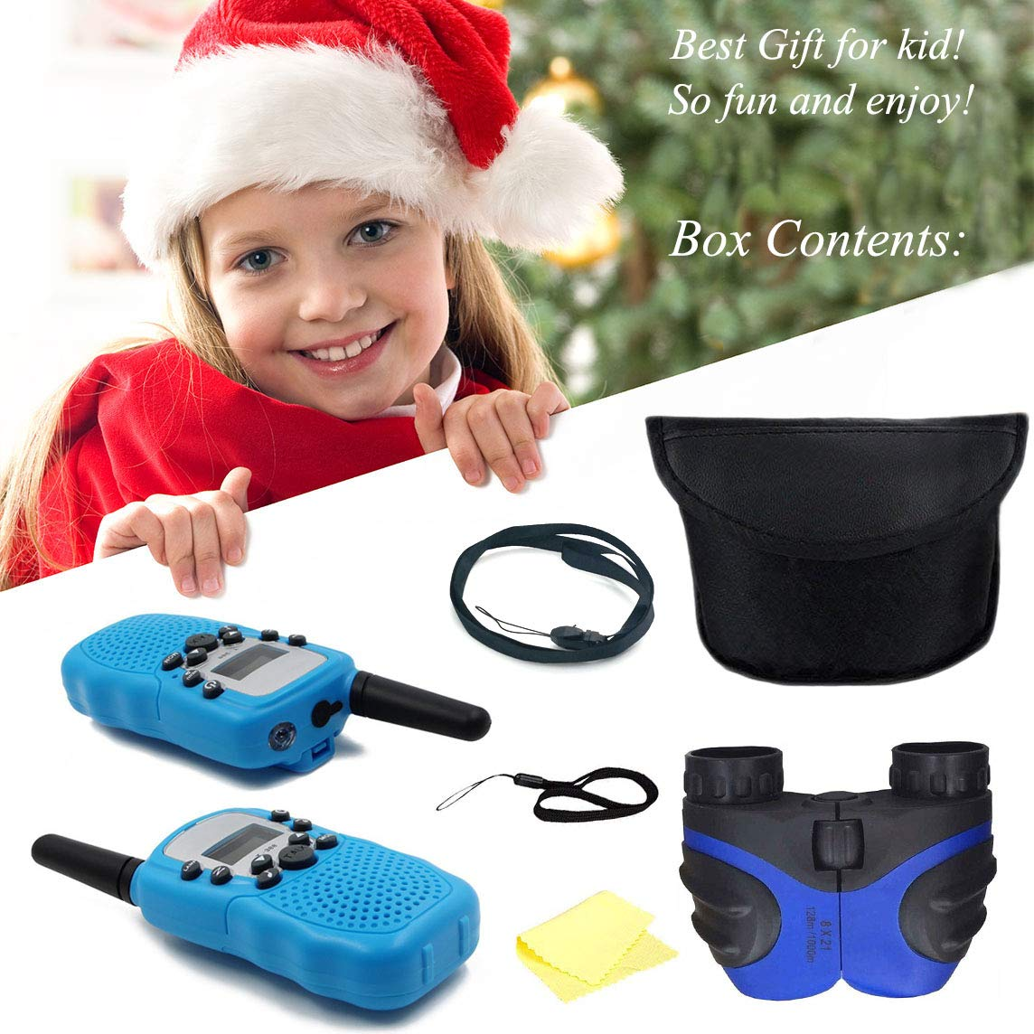 Happy Gift Fun Toys Binoculars for 3-15 Year Old Boy, Gifts for Teen Girls Boys to Hiking, 3 Miles Range Walkie Talkies for Kids Teen Boy Gifts Birthday Presents,Boys Gift Age 5,1 Set(Blue) by Happy Gift (Image #7)
