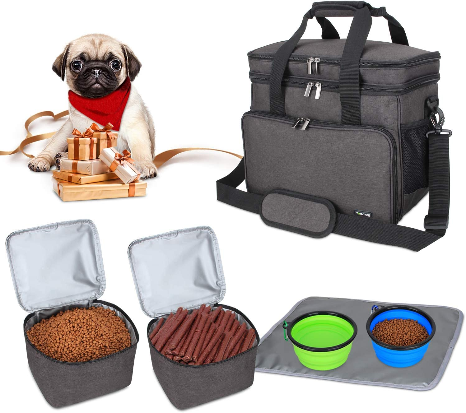 Teamoy Double Layer Dog Travel Bag with 2 Silicone Collapsible Bowls, 2 Food Carriers, 1 Water-Resistant Placemat, Pet Supplies Weekend Tote Organizer(Medium, Black)