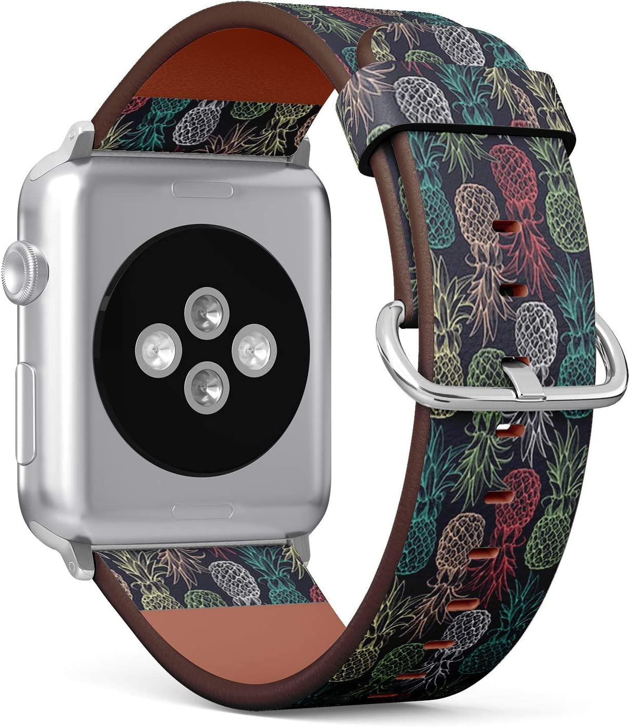 Compatible with Apple Watch Series 5, 4, 3, 2, 1 (Big Version 42/44 mm) Leather Wristband Bracelet Replacement Accessory Band + Adapters - Pineapples