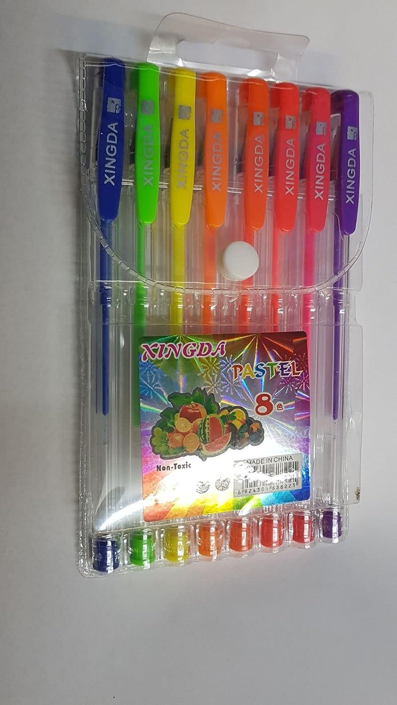 Colour Gel Pen Set In A Plastic Wallet Fine Ink Ballpoint Pens Pack