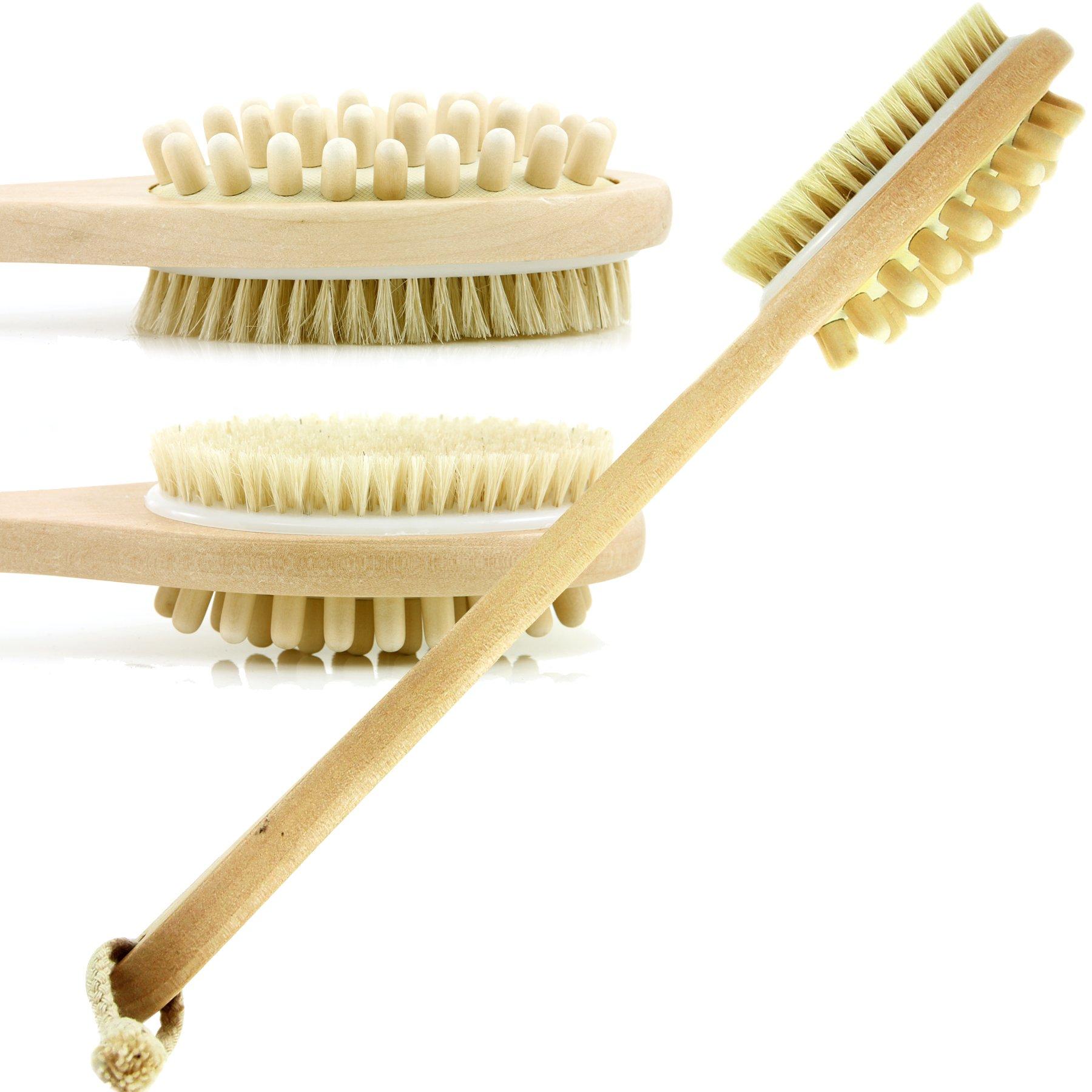 Bath & Relax Bath Body Brush Natural Bristles Long Handled Shower Back Scrubber Brush - Exfoliating Scrub Skin Brush - Back Shower Brush - Dry or Wet Body Brushing - For Men and Women