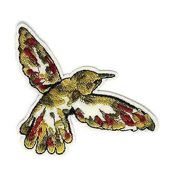 Parche bordado para coser o planchar con dibujos de animales de pájaros dorados, para coser. Pasa ...
