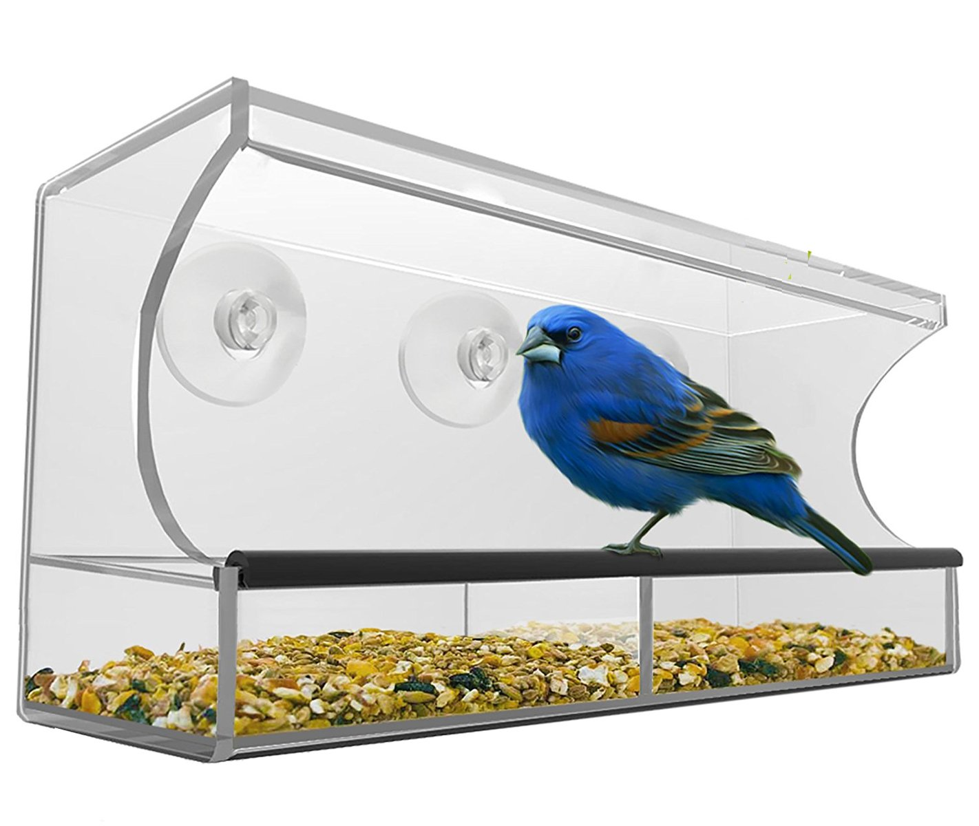 T Tocas Large Window Pet Birds Feeders with Tray and 3 Suction Cups, Acrylic Clear Window Hold BPBF657