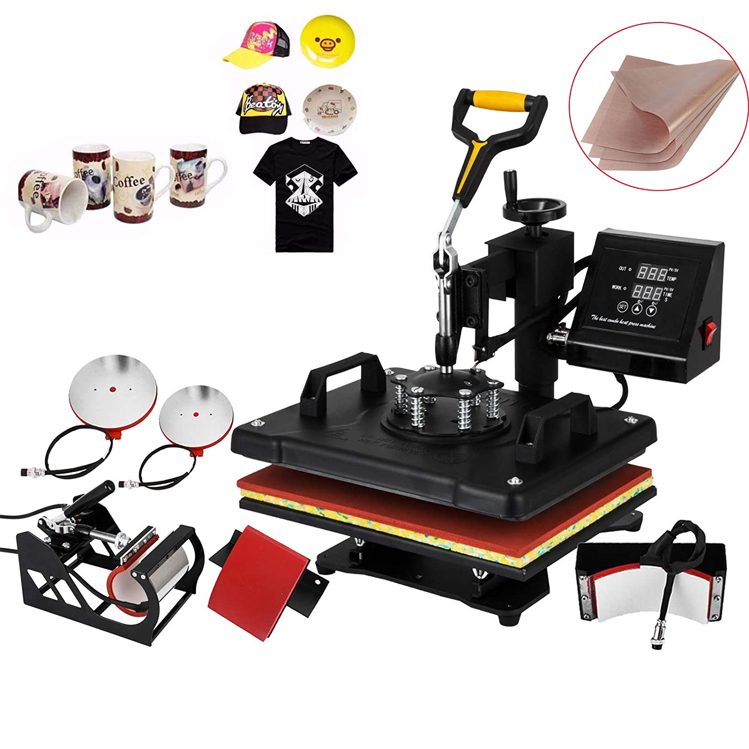 Mophorn Heat Press 12 X 15 inch 5 in 1 Desktop Iron Baseball Hat Press Dual Digital Transfer Sublimation Multifunction Heat Press Machine Swing Away Design (5IN1 Presser Yellow)