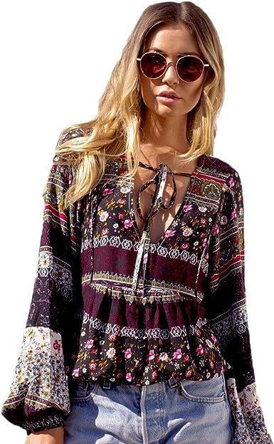 Blusas Verano Mujer Boho Beach Vintage Camisas Festival Elegantes de Moda Moda Anchas Etnica Estilo Camisa Mangas 3/4 V-Cuello Bandage Tops Impreso Patrón Camisas: Amazon.es: Ropa y accesorios