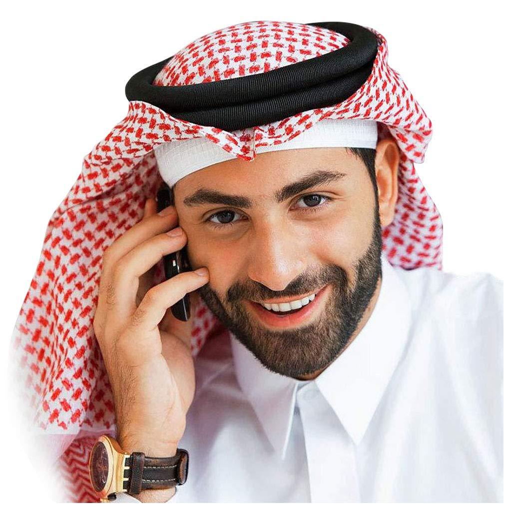 HOMELEX Arab Kafiya Keffiyeh Middle Eastern Scarf Wrap with Aqel Rope (Red&White) by HOMELEX