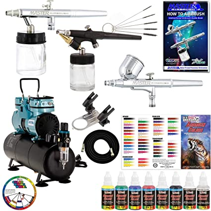 Powerful Master Airbrush Airbrushing System with 3 Airbrushes, 6 U.S. Art Supply Primary Colors Acrylic
