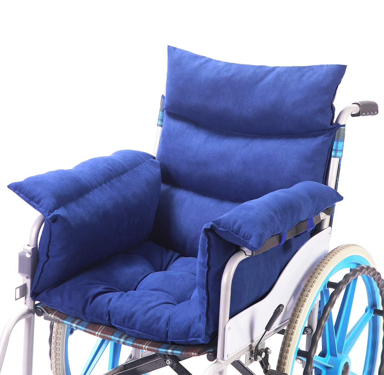 Wheelchair Cushion Soft Cotton Wheelchair Accessory Helps Prevent Pressure, Blue by Trendcode