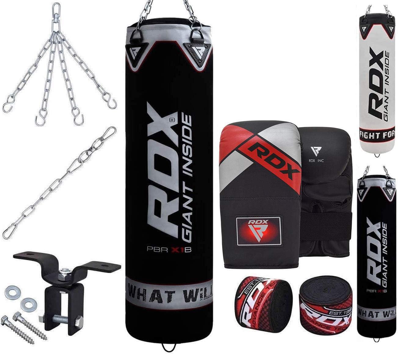 Kickbag MADX 7 PEZZI 4 piedi BOXING SET Riempito Heavy Punch Bag Guanti staffa Catena