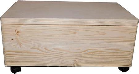 Grande cofre de madera no pintada con ruedas/ruedas y tapa/Maletero Almacenaje No Terminada Juego Caja 60x 40x 24cm: Amazon.es: Hogar