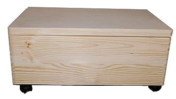 Grande cofre de madera no pintada con ruedas/ruedas y tapa/Maletero Almacenaje No