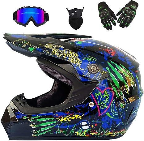 Gloves, Goggles, Masks, Set Of 4 Motocross Helmet Beach Racing Helmet Mountain Bike All-Around Helmet Adult Men And Women
