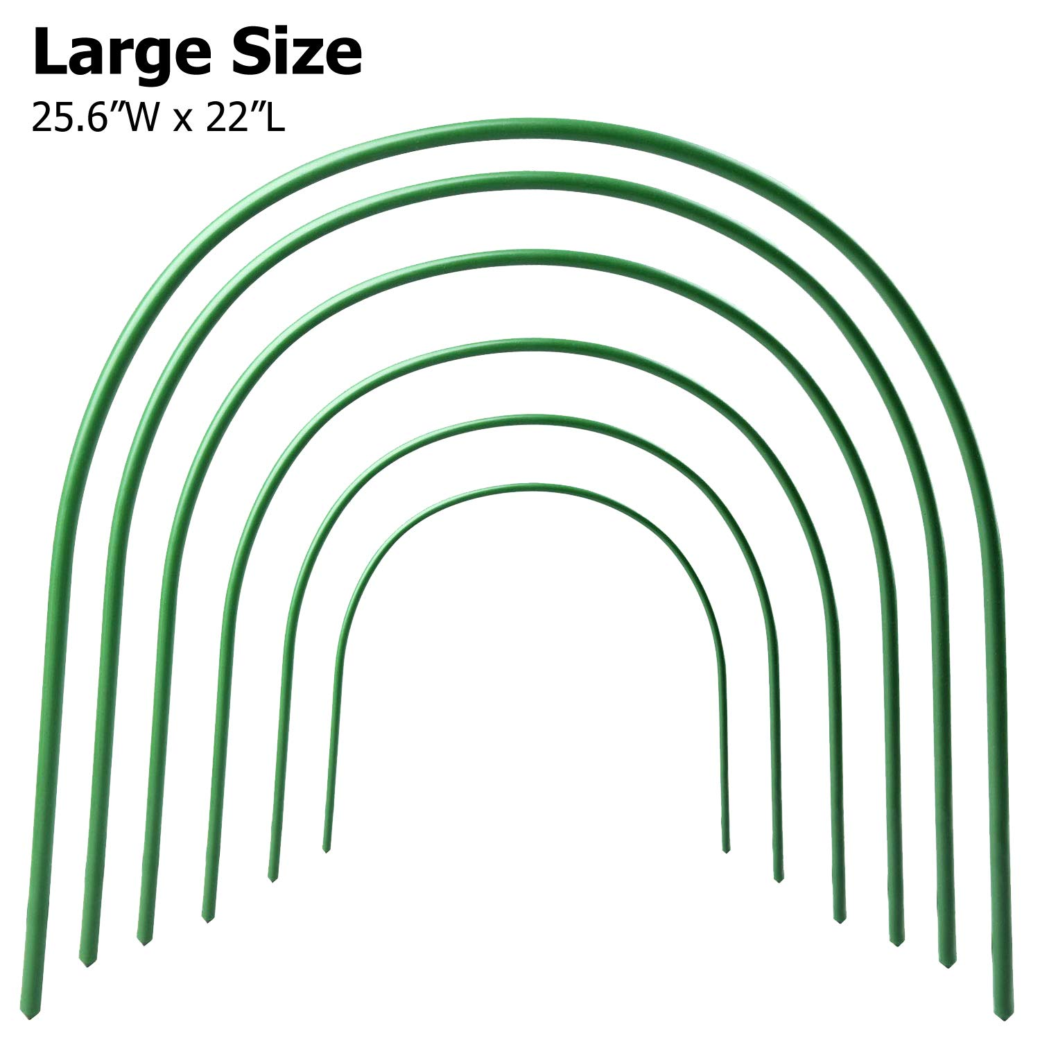 B&P 6Pack Greenhouse Hoops (22'' x 25.6'') Garden Hoops 4.9ft Long Plant Hoops Rust-Free Grow Tunnel, Garden Tunnel Hoop Grow Tunnel Support Hoops for Garden Stakes Fabric- Large