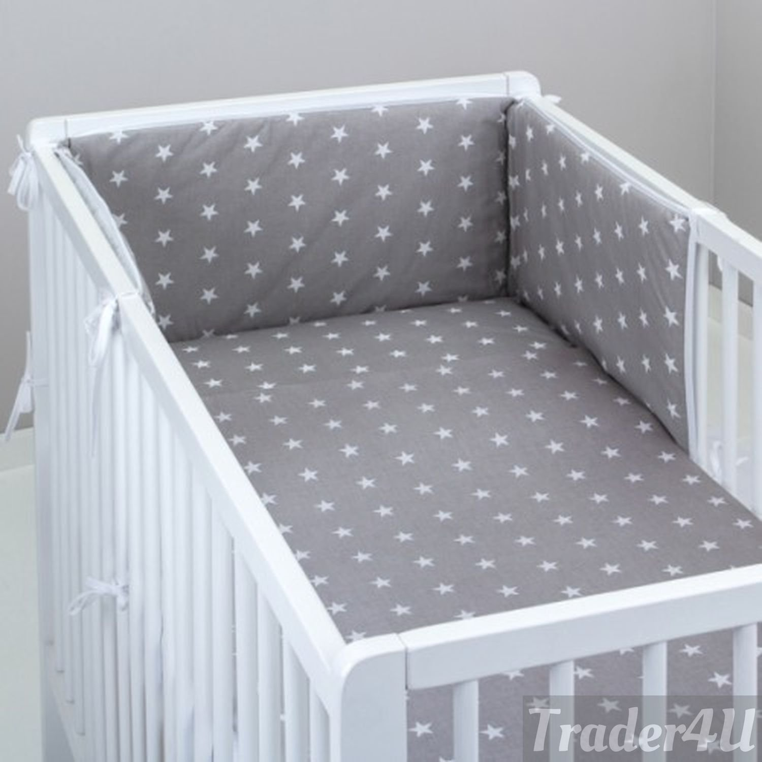 MillaLu 3 Pcs Baby Nursery Bedding Set fit to Cot 120x60cm or Cot Bed 140x70cm Padded Bumper (Fit to Cot Bed 140x70 cm, White Elephants on Blue) Trader 4u Ltd