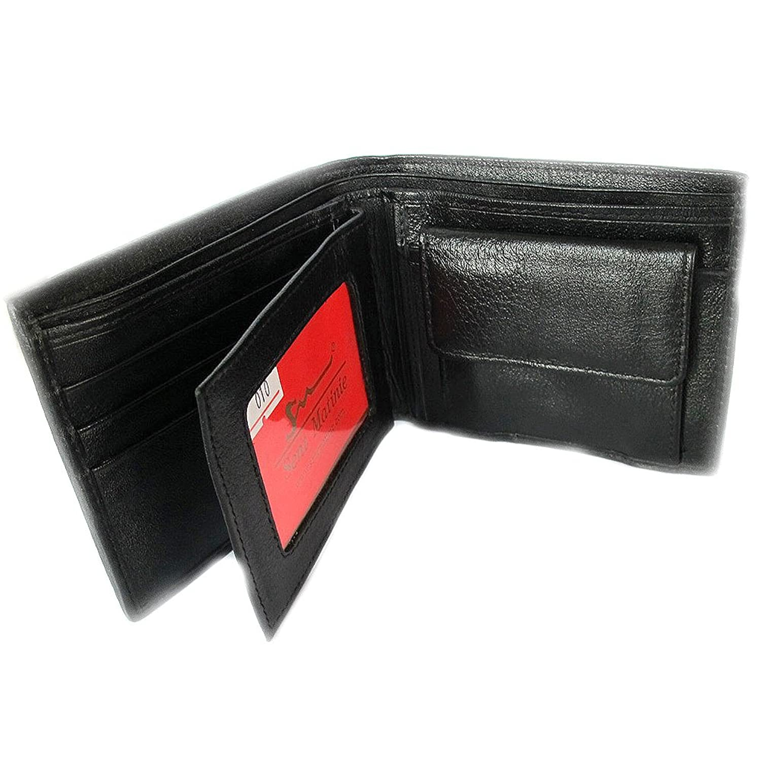 """HelloBangkok""BEAUTIFUL GENUINE HEAD HOOD COBRA BIFOLD WALLET IN WHITE AND BLACK COLOR 3 COMPRATMENT OF BANK NOTE 1 WITH ZIPPED 3 CREDIT CARD 1 COIN POKKET 2 WINDOW FOR ID CARD"