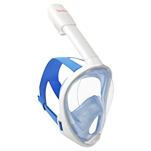 SeeReef Full Face Snorkel - Snorkeling Mask Set New 2017 Design GUARNTEE & FREE DELIVERY See 180 Degrees Underwater with New 4 Valve Anti Fog Technology Breathe Easy While Snorkling