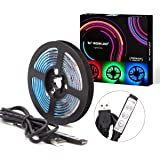 WOWLED USB TV Back LED Lights, RGB USB Powered Strips with 3-Key Mini Remote Controller, 5ft LED Strip Light 5050 TV Backlight, Multi Color Changing Mood Lighting DC 5V for Halloween Christmas Party