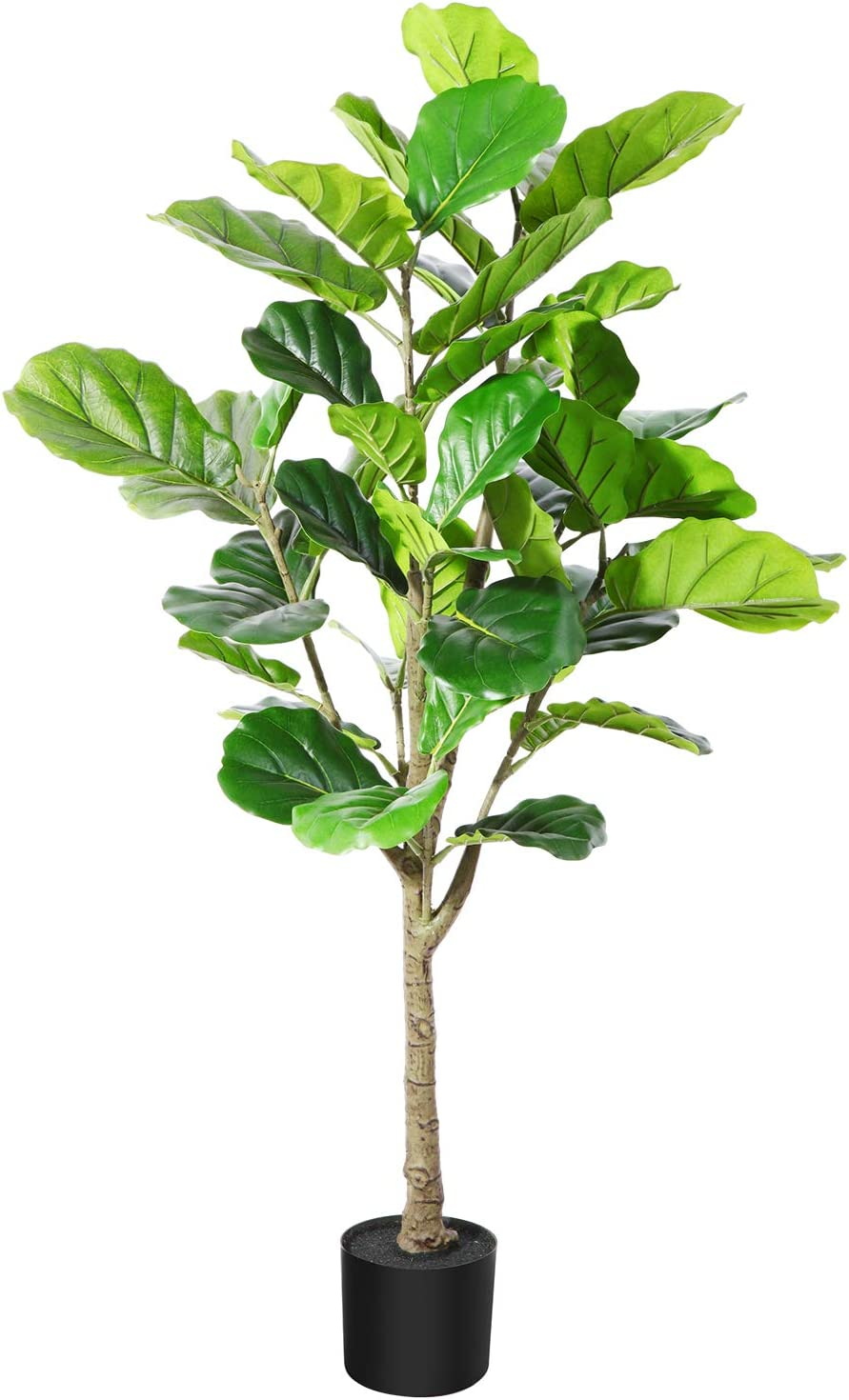 DR.Planzen Artificial Fiddle Leaf Fig Tree 4 Feet Fake Ficus Lyrata Plant in Pot for Home Office Decor Indoor