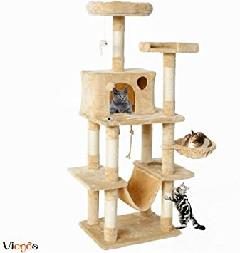 """Cat Tree For Large Cats 72/"""" Climbing Tower Condo House Scratching Post Furniture"""
