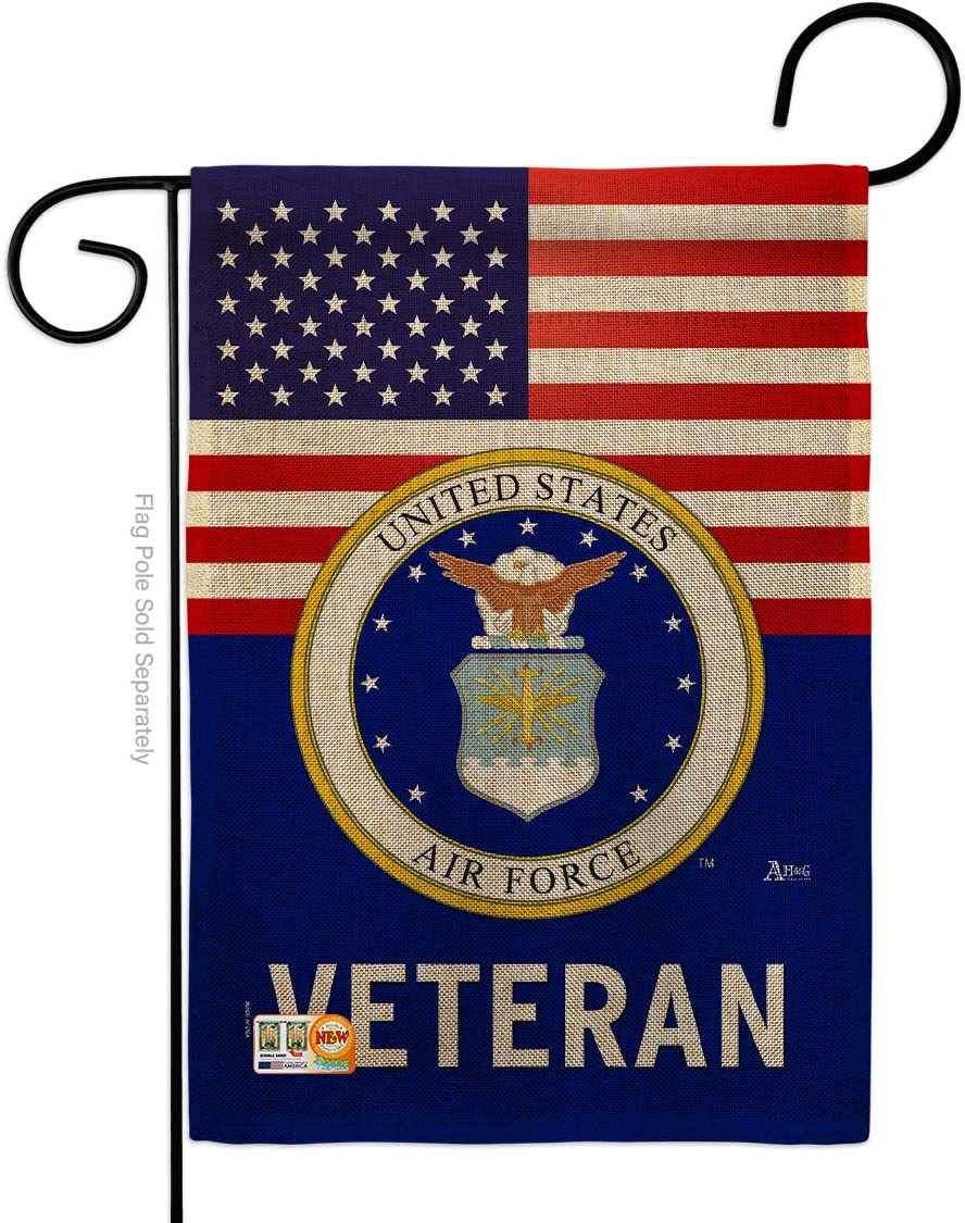 Americana Home & Garden US Air Veteran Burlap Garden Armed Forces USAF United State American Military Retire House Decoration Banner Yard Gift Double-Sided, Thick, Small Flag Only
