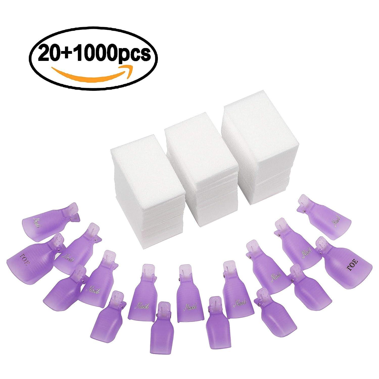 INFILILA Nail Polish Remover Clips Caps 20+1000PCS Nail Clips Set - 20PCS Nail Soak Off Clips For Finger And Toe, 1000PCS Lintfree Nail Remover Wipes Wraps For UV Gel Acrylic Nail Polish Removal
