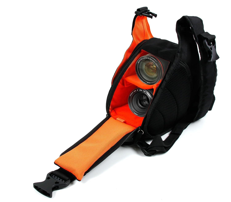 Noir//Orange Ablue,Actitop et Andoer ORDRO HDV-Z8 DURAGADGET Petit Sac /à Dos Triangle pour cam/éscope Aabeloy Multi-Poches et s/éparateurs